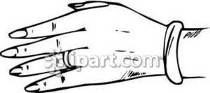 A Woman s Left Hand with Long Fingernails a Wedding Ring and a Bracelet Royalty Free Clipart Picture