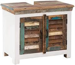 woodkings waschbeckenunterschrank perth recyceltes holz weiß bunt rustikal lamellentür waschtischunterschrank badmöbel badezimmer badschrank bad