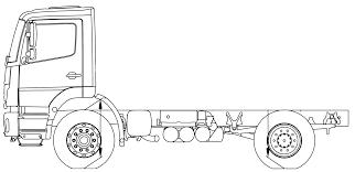 100 4x2 Truck MercedesBenz Axor 18K Heavy Blueprints Free Outlines
