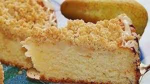 sahne birnen kuchen mit streuseln