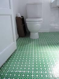 Beautiful Patterned Green Bathroom Vinyl Flooring For White Room