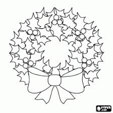Christmas Wreath Of Holly Leaves With A Large Decorative Bow Coloring Page