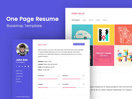 One Page Bootstrap Resume Template