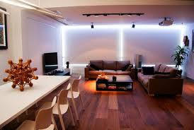 living room with indirect recessed led light modern living