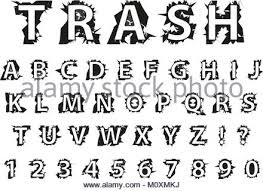 Trash Typography Dirty Font Lettering Typeface Garbage Grunge Style Fashionable Alphabet Rock Latin Letters