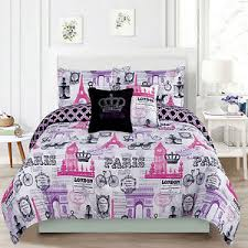 Bedding Girls forter Bed Set Paris Eiffel Tower London Pink