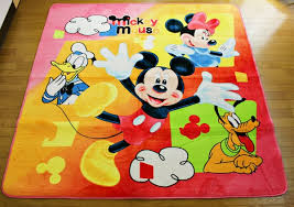 Colorful Area Rug With Disney Cartoon Character Also Mickey Minnie