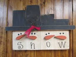 hanging snowman block set wood craft items winter