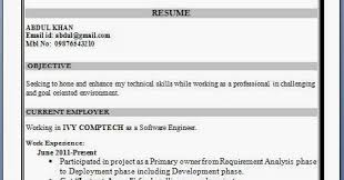 Best Resume Format 1 Year Experience