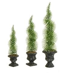Set Of 3 Artificial Sparkling Green Frosted Spiral Topiary Christmas Tree