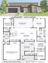 104 Contemporary Modern Floor Plans Courtyard23 Semi Custom Home Plan 61custom House Courtyard House Custom Home House