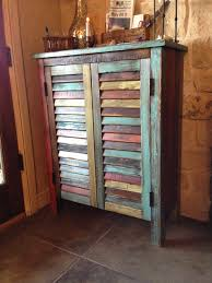 Distressed Rustic Multi Colored Antique Wood Storage Cabinet