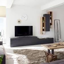 mäusbacher booster wohnwand 3 im dekor asteiche und flamed wood black für ihr wohnzimmer mit zwei lowboard zwei hängeregalen und einem hängeschrank