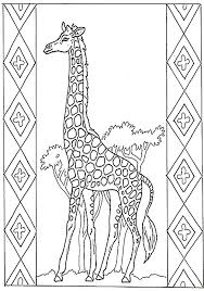 Lion Girafe With Border Coloring Page