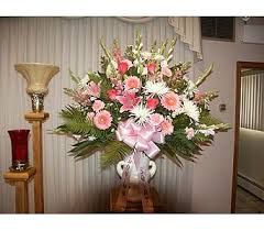 Sympathy Basket Pink And White With Roses In Chicago IL Soukal Floral Co