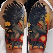 Extremely Yellow And Red Wild Animal Tattoo With African Women Sun