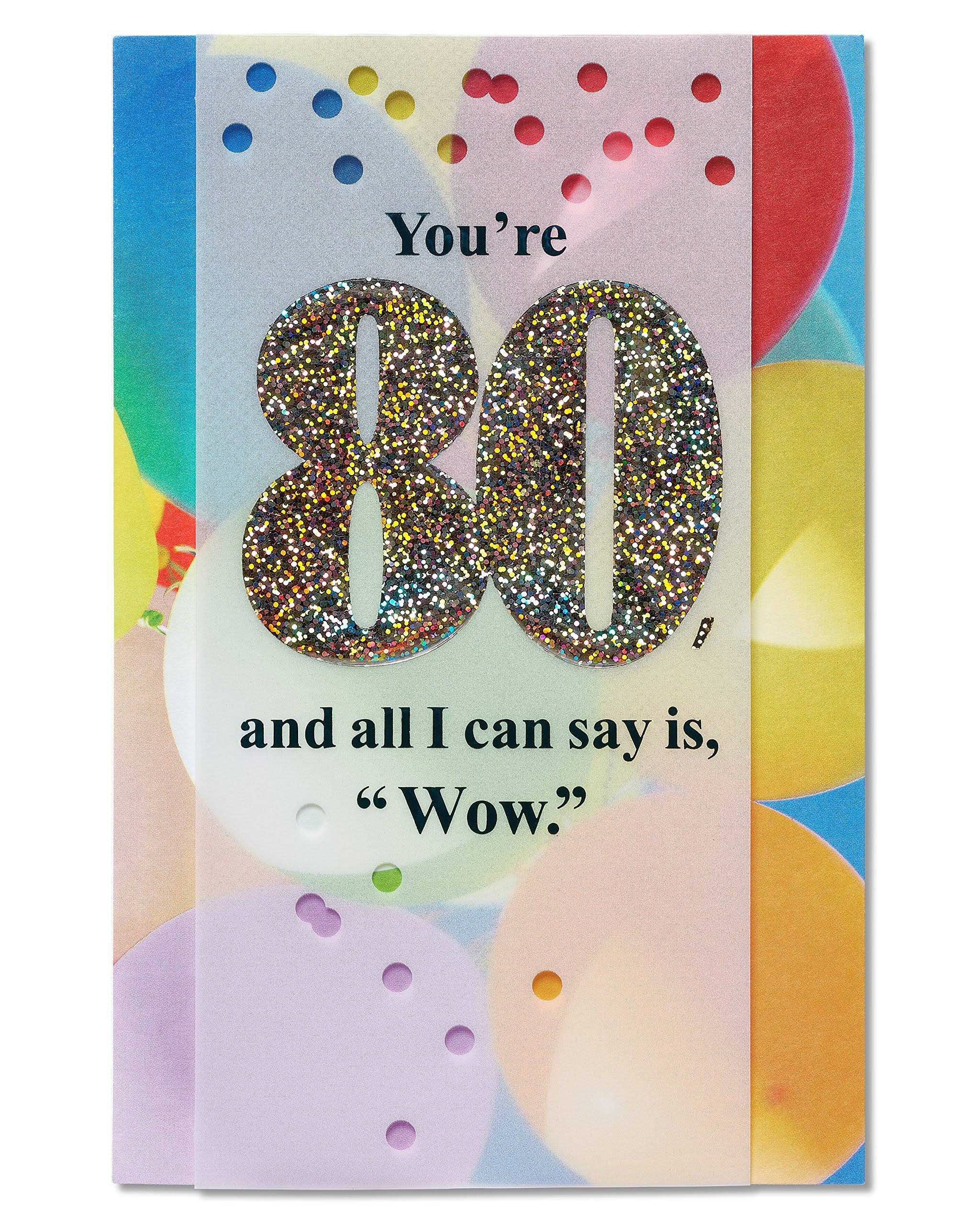American Greetings Colorful Balloons 80th Birthday Card with Foil