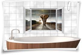 fliesenaufkleber fliesenbild fenster elefant bad wc fliesen deko