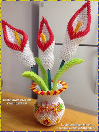 3D Origami Lily Vase Flower Paper Decoration