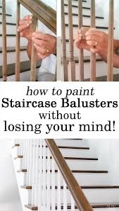 Painting Staircase Balusters Without Losing Your Mind - In My Own ... Java Gel Stain Banister Diy Projects Pinterest Gel Remodelaholic Stair Makeover Using How To A Angies List My Humongous Stairs Fail Kiss My Make Wood Stairs Treads For Cheap Simply Swider Stair Railing Cobalts House Staircase Reveal Cut The Craft Updating A Painted With An Ugly Oak Dark All Things Thrifty 30 Staing Filling Holes And