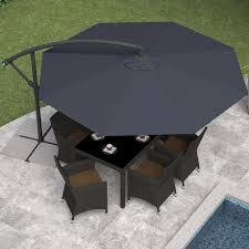 Patio Umbrellas Walmart Canada by Corliving Ppu 400 U 9 5 Ft Offset Patio Umbrella In Black