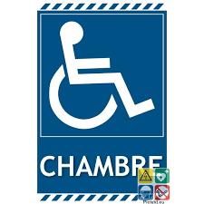 panneau de chambre panneau de signalisation chambre handicapés logo pmr