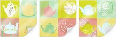 wall poster 3er set esszimmer tea time küche 3 stück poster wandbild bild wandposter