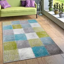 designer teppich karo türkis grün grau