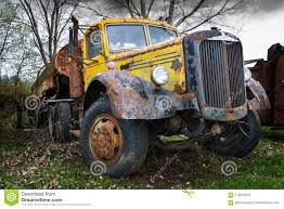 Vintage Mack Semi Trailer Truck Tanker Stock Photo - Image Of ...
