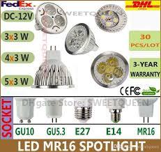 30x high quality mr16 9w 12w 15w led spotlight bulbs dimmable 12v