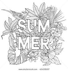 Adult Coloring Book Page With Word Summer And Tropical Birds Plants