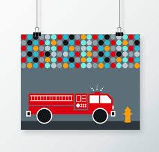 100 Fire Truck Wall Art Decor Digital Print Truck Theme Nursery