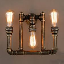 industrial bare edison bulb wall sconce in bronze finish 3 lights