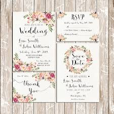 Wedding Invitation Pink Floral Rustic Watercolor SetSuite