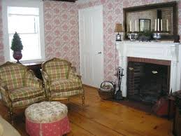 Old House Living Room Red Wallpaper And White In Traditional