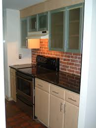 Kitchen Theme Ideas Red by Tiny And Narrow Kitchen Decoration Ideas With Faux Red Brick Wall