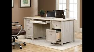Sauder Shoal Creek Desk by Sauder Edge Water Executive Desk In Chalked Chestnut Youtube