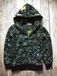 Tide Brand MenS Wear Shark Hoodies Camouflage Black And White Split Joint European Fashion Sweater Loose Coat Fur Collar Jean Jacket Furry