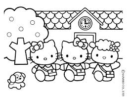 Hello Kitty Coloring Sheets Free House Pages S Cute Cat
