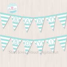 Baby Shower Banner Baby Boy Printable Party Flags Turquoise