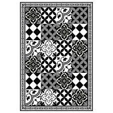 PVC Vinyl Mat Linoleum Rug Free Shipping Mix Tiles Pattern 313 Black White Vanillco
