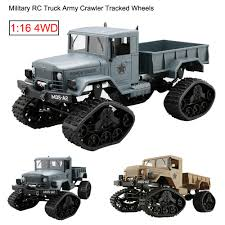 2.4G RC Military Truck Army 1:16 4WD Tracked Wheels Crawler Off-Road ...
