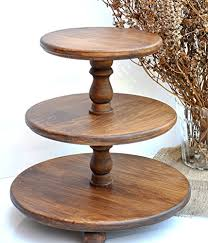 Demountable 3 Tier Wood Cupcake Stand For Wedding Cake Wooden