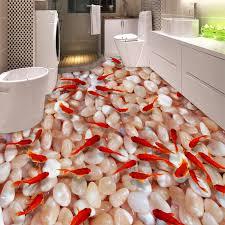 pvc selbst klebstoff wasserdicht 3d boden fliesen tapete küche bad goldfisch pebble boden malerei wandmalereien aufkleber wohnkultur