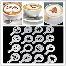 16 Pcs Cappuccino Coffee Barista Stencils Template Duster Spray Art Print Molds