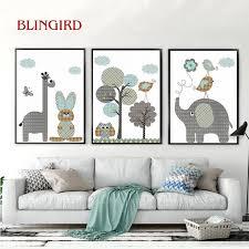 einfache karikatur elefanten liebe vogel baum giraffen wohnzimmer dekoration