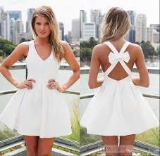 2017 white short homecoming dresses v neck a line backless
