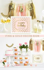 Pink And Gold Birthday Themes by Pink And Gold Sign Happy Birthday Sign Pink And Gold Birthday