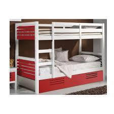 lits chambre literie lit superposé marlone avec tiroir laqué