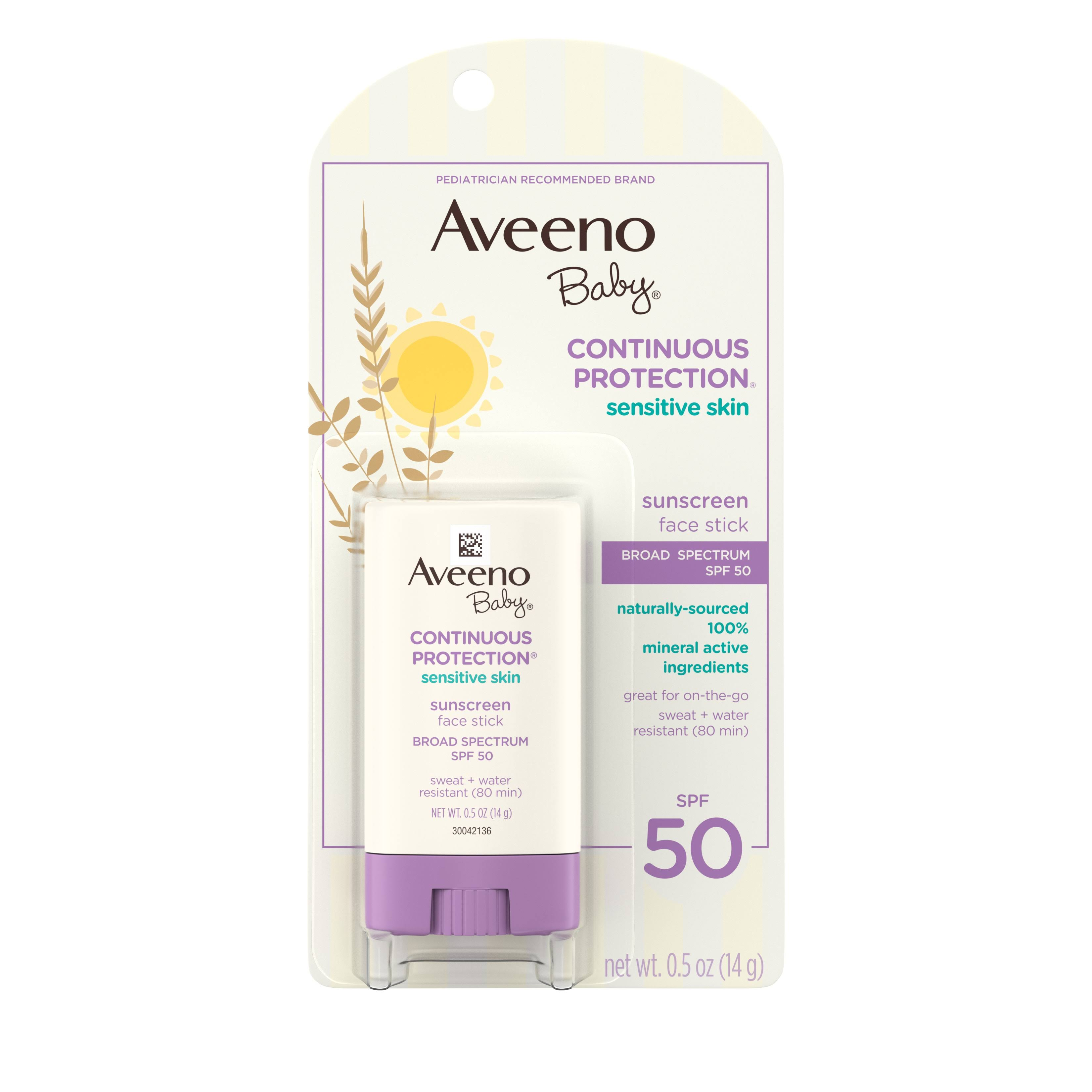 Aveeno Baby Natural Protection Face Stick Sunscreen - SPF 50
